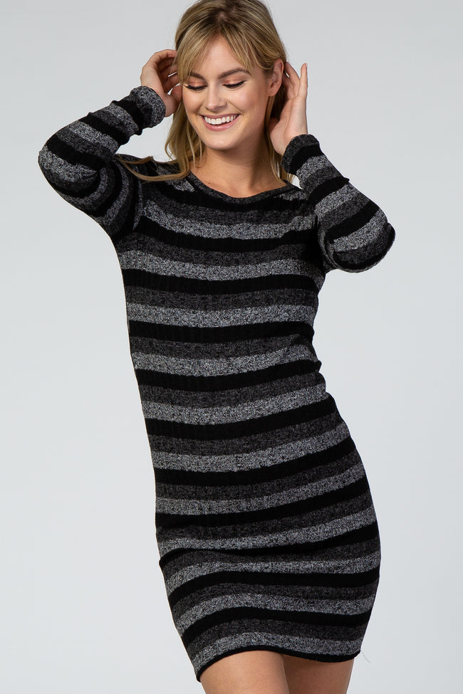 Black Striped Ribbed Long Sleeve Fitted Maternity Dress