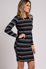 Black Striped Ribbed Long Sleeve Fitted Dress