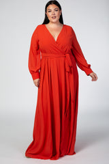 Orange Chiffon Long Sleeve Maternity Plus Maxi Dress