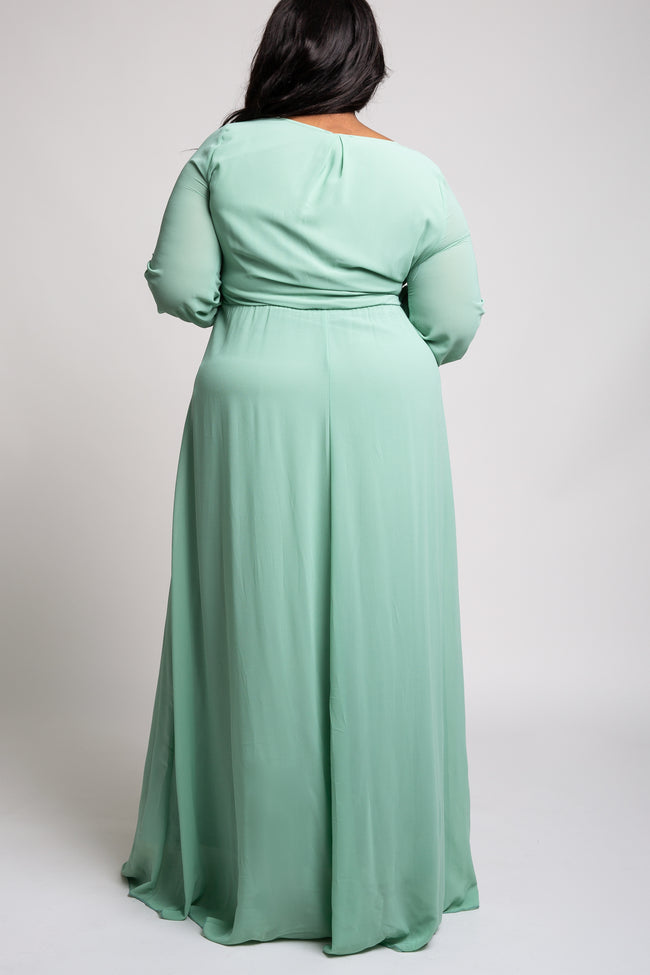 Mint Green Chiffon Plus Maxi Dress