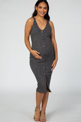 Charcoal Ribbed Button Front Fitted Maternity Midi Dress