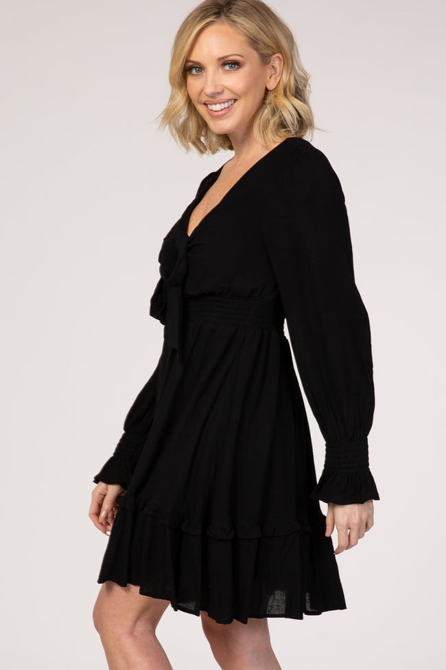 Black Tie Front Ruffle Accent Mini Dress