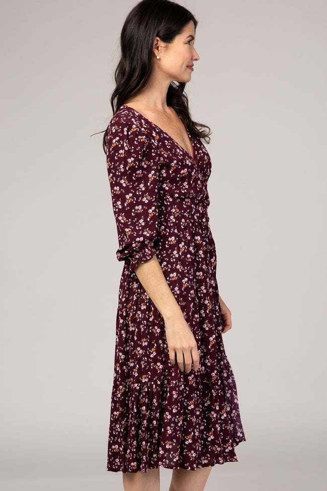 Plum Floral Long Sleeve Wrap Dress