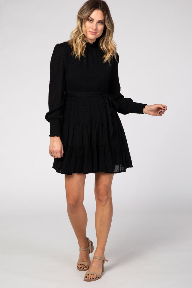 Black Swiss Dot Mock Neck Tiered Dress