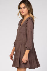 Mocha Swiss Dot Long Sleeve Tiered Dress
