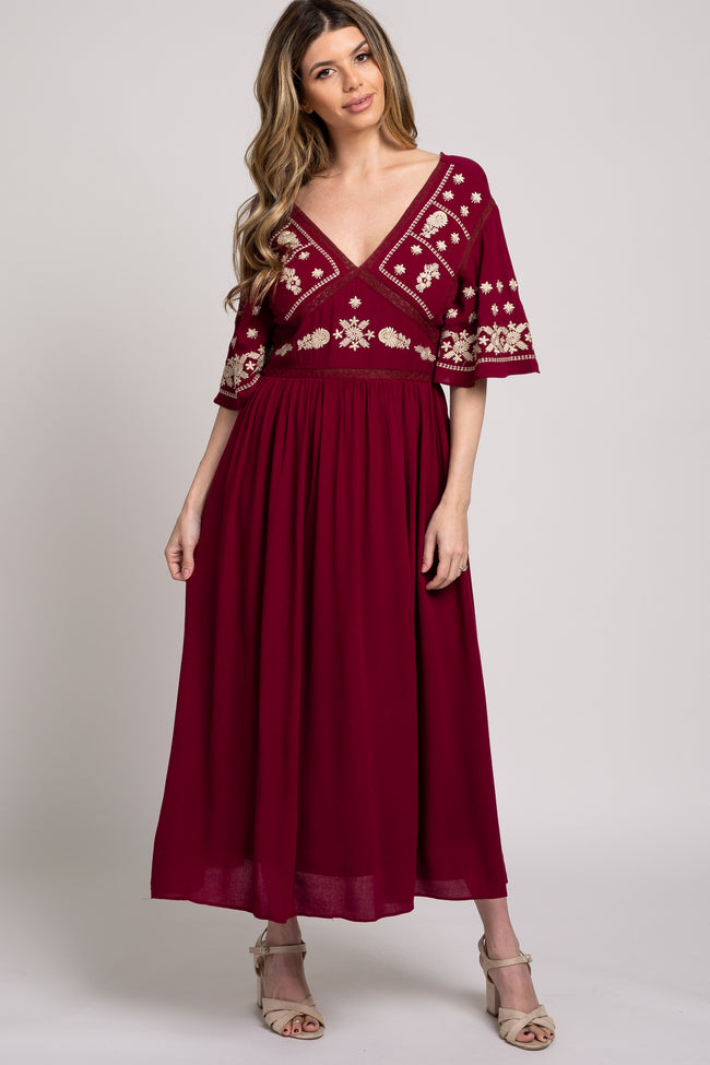 Burgundy Embroidered Midi Dress