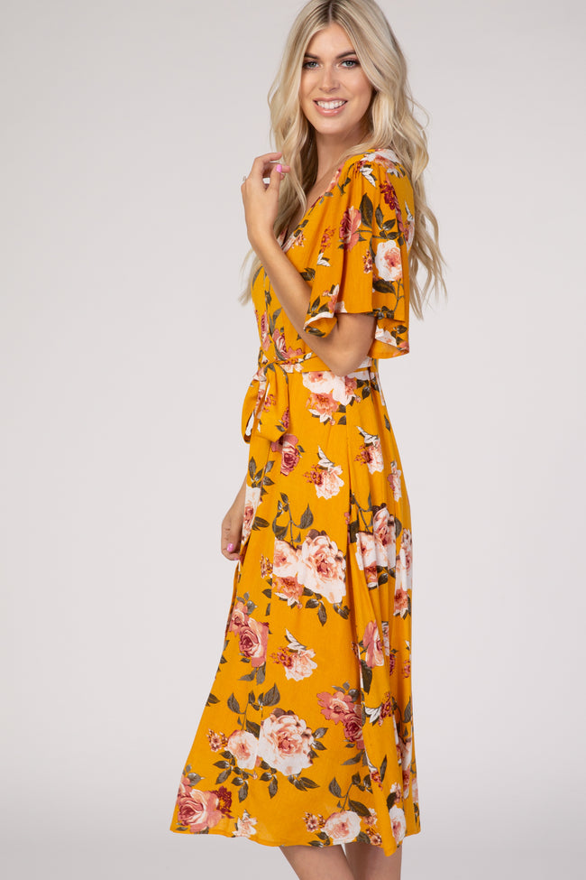 Mustard Floral Button Front Wrap Midi Dress