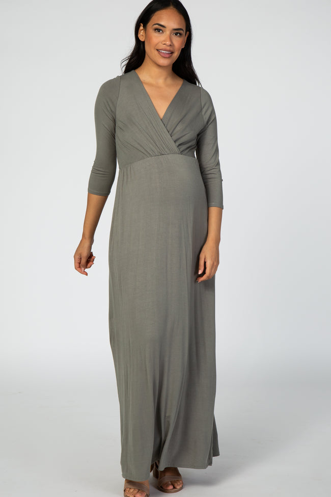 Olive 3/4 Sleeve Maternity Nursing Maxi Dress