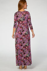 Purple 3/4 Sleeve Floral Maxi Dress