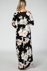 Black 3/4 Sleeve Floral Maternity Nursing Maxi Dress