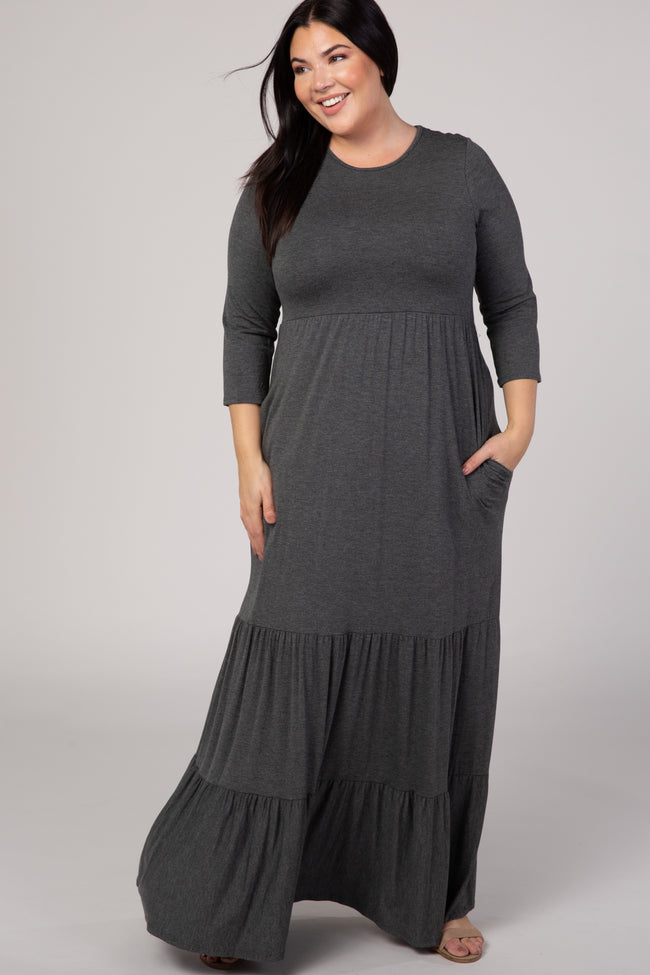 Charcoal Tiered Ruffle Hem Plus Maxi Dress