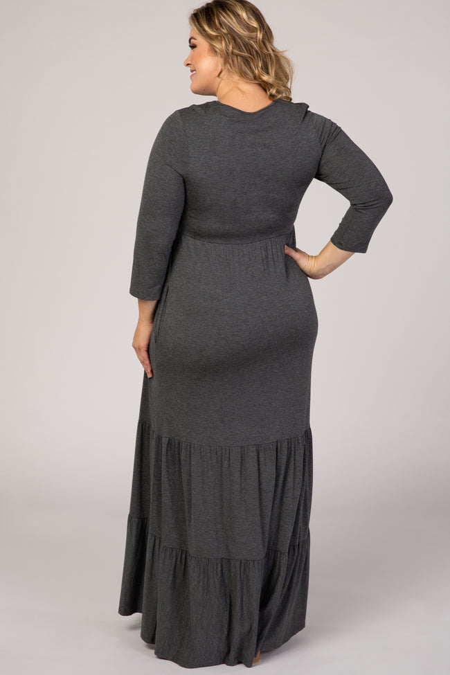 Charcoal Tiered Ruffle Hem Plus Maternity Maxi Dress