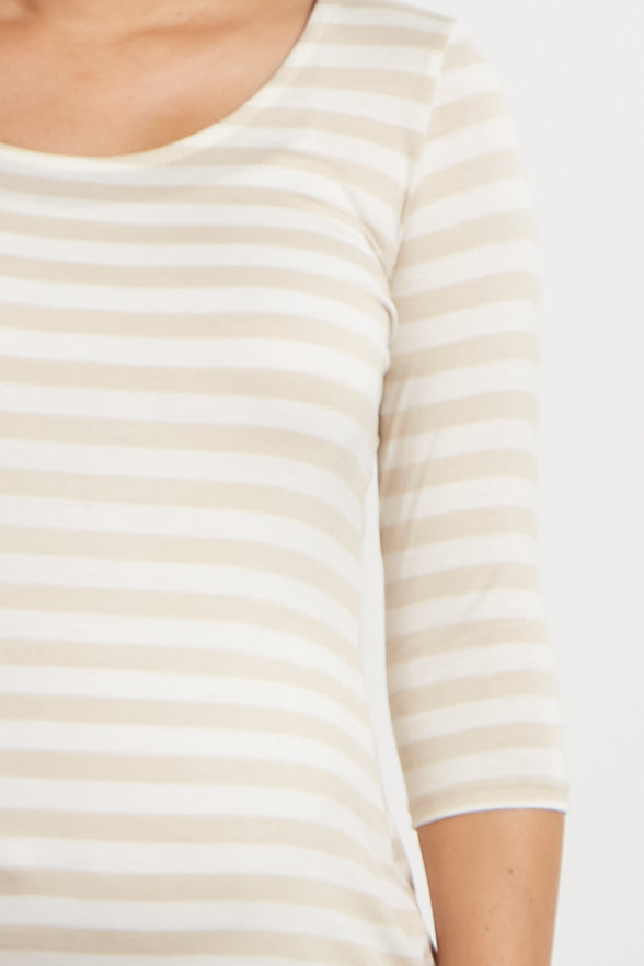 Beige Striped 3/4 Sleeve Maternity Shirt