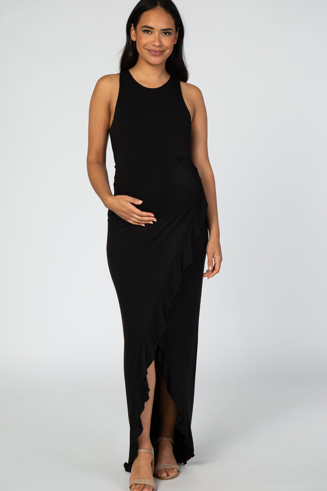 Black Sleeveless Ruffle Wrap Maternity Maxi Dress