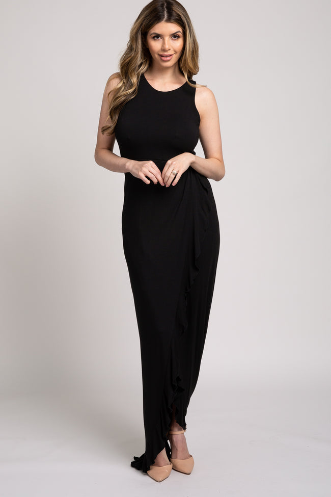 Black Sleeveless Ruffle Wrap Maxi Dress
