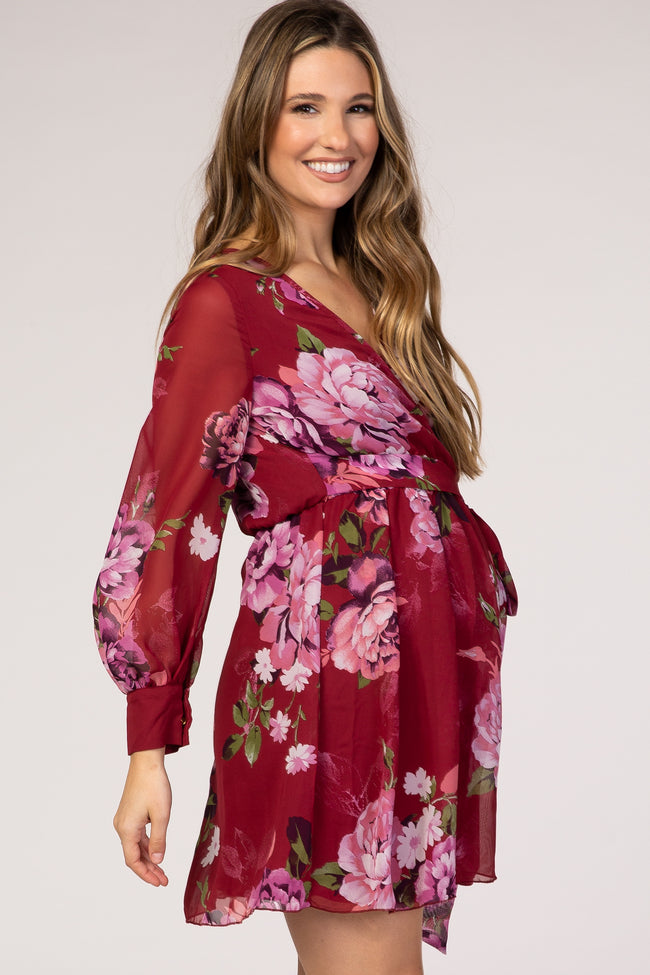 Red Floral Chiffon Maternity Wrap Dress