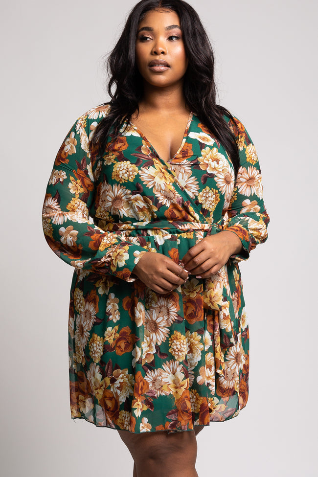 Forest Green Floral Chiffon Plus Wrap Dress
