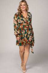 Forest Green Floral Chiffon Maternity Plus Wrap Dress