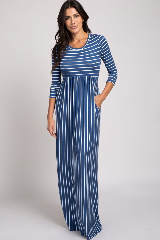 Blue Striped 3/4 Sleeve Maxi Dress