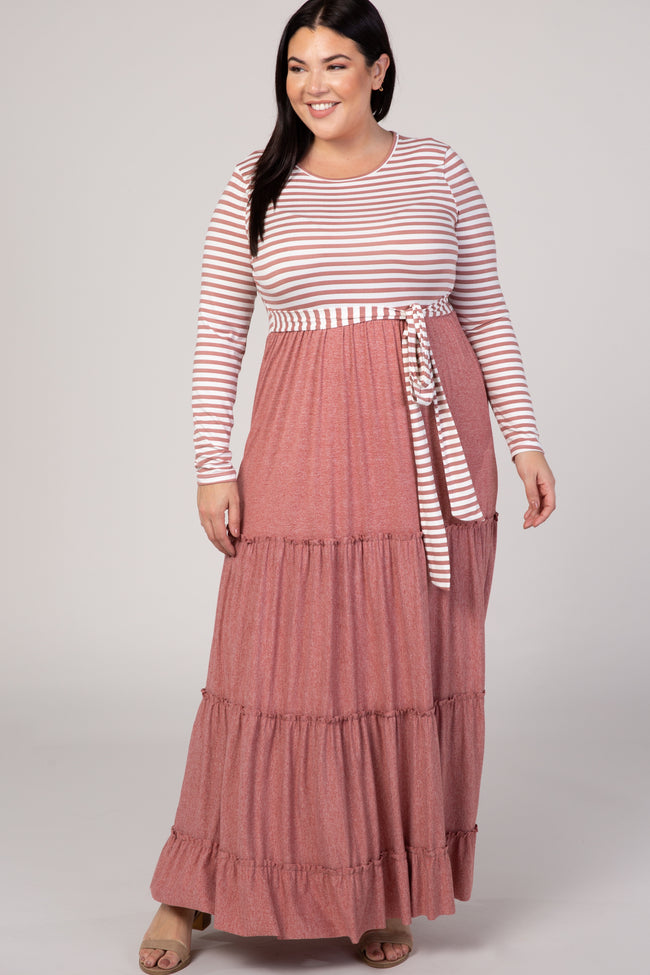 Rust Stripe Tie Waist Plus Maxi Dress