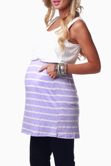 Lavender White Colorblock Maternity Tank