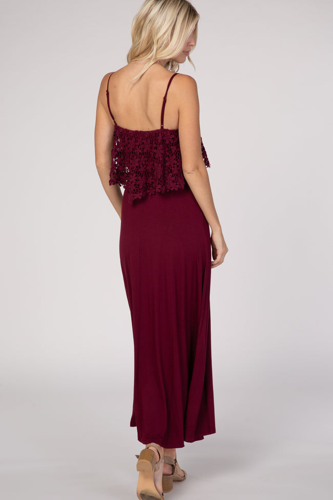 Burgundy Lace Maxi Dress