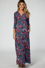 Blue 3/4 Sleeve Floral Maternity Nursing Maxi Dress