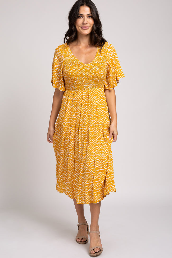 Yellow Ikat Print Flowy Sleeve Smocked Top Maternity Dress