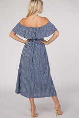 Navy Blue Striped Off Shoulder Button Midi Dress