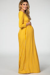 Mustard Striped 3/4 Sleeve Maternity Maxi Dress
