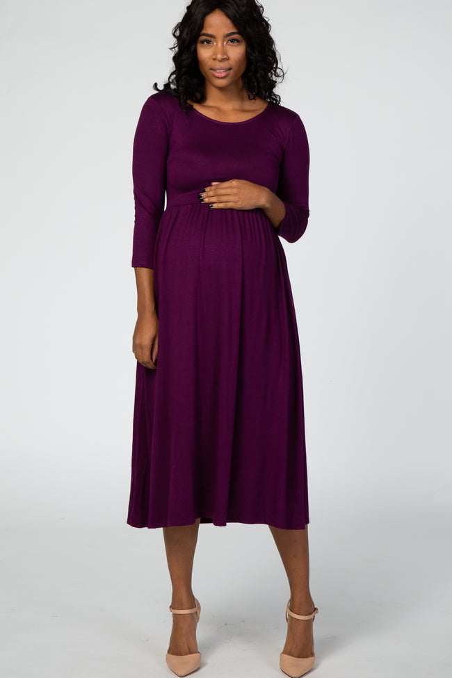 Purple 3/4 Sleeve Maternity Midi Dress
