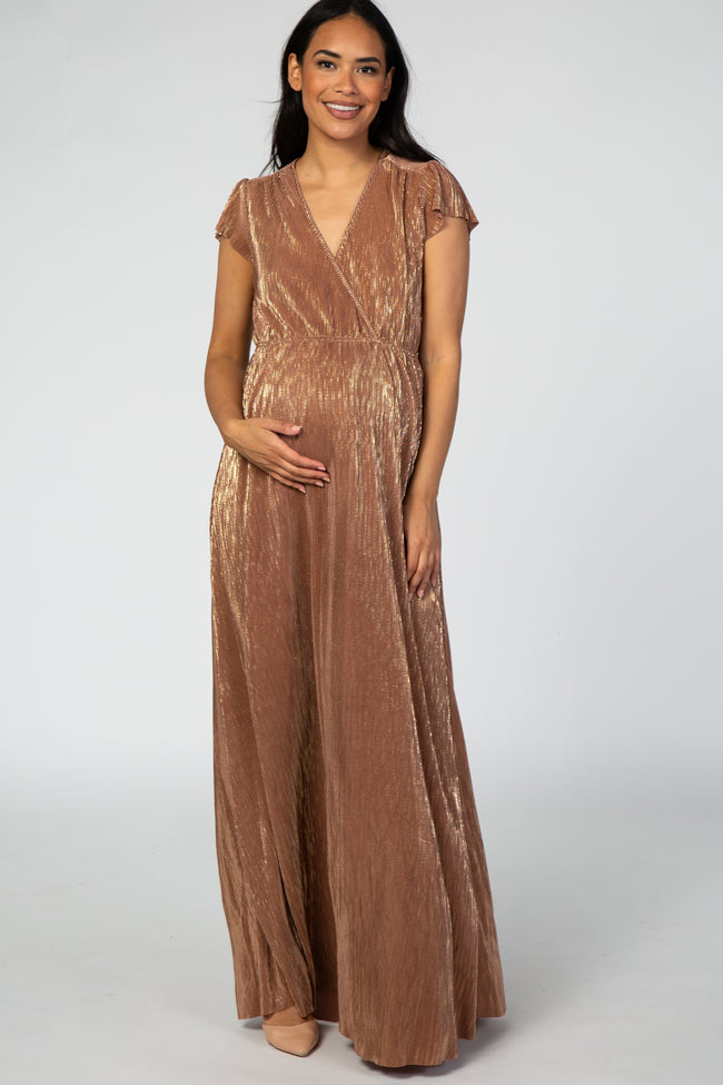 Rust Shimmer Maternity Wrap Maxi Dress
