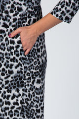 Grey 3/4 Sleeve Animal Print Maxi Maternity Plus Dress