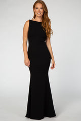 Black Open Back Sleeveless Ruffle Maxi Dress