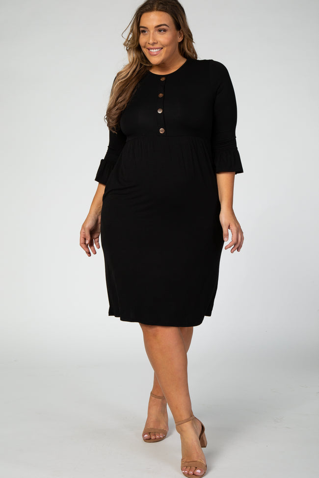 Black Button Front 3/4 Sleeve Plus Maternity Midi Dress