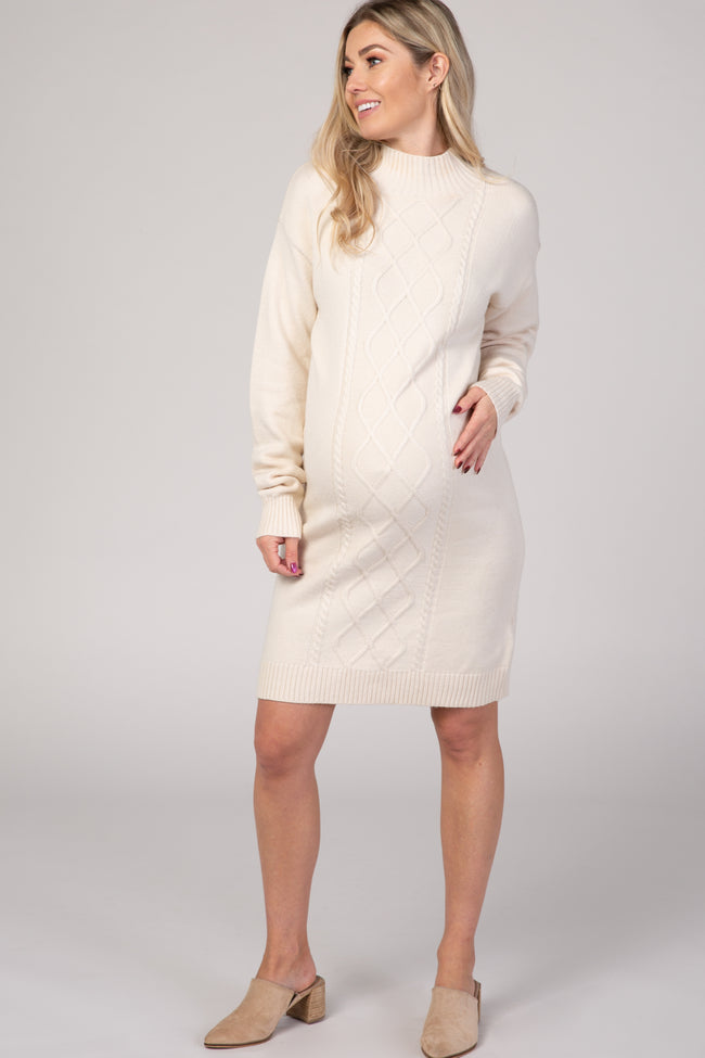 Cream Cable Knit Maternity Sweater Dress