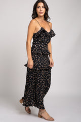 Black Floral Tiered Ruffle Maxi Dress