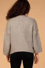 Grey Knit Bell Sleeve Maternity Sweater