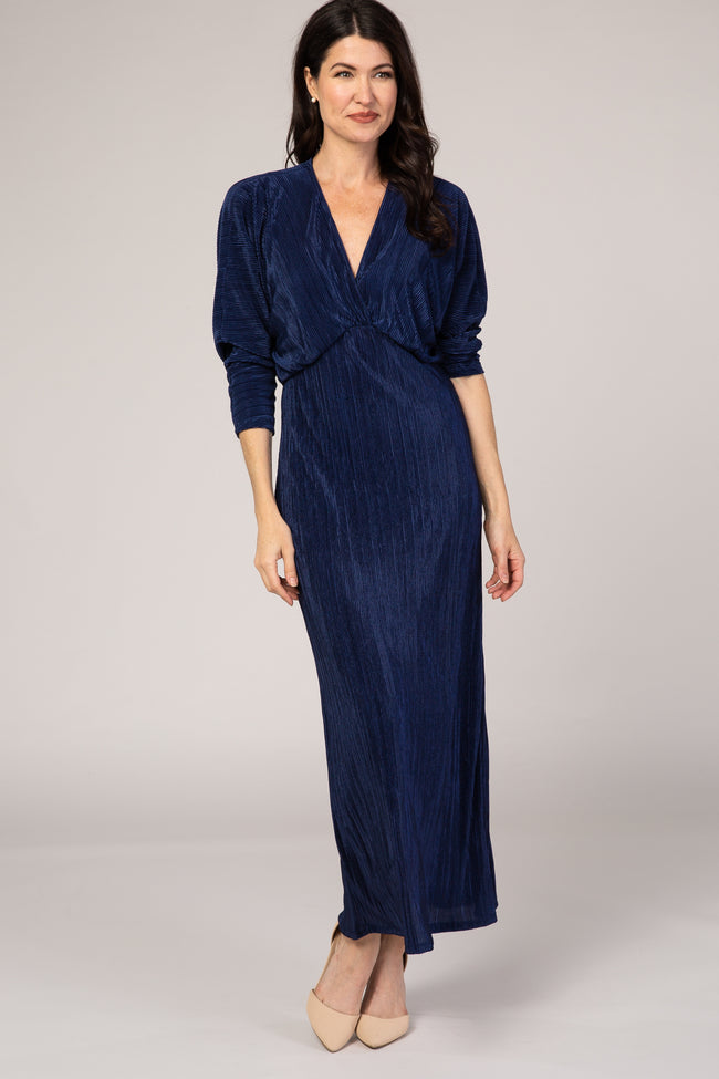 Navy Blue Ribbed Midi Dress