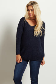 Navy Long Sleeve Maternity Sweater