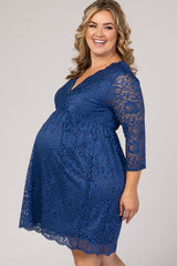 Blue Lace Overlay Plus Maternity Wrap Dress