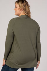 Green Front Pocket Maternity Plus Cardigan