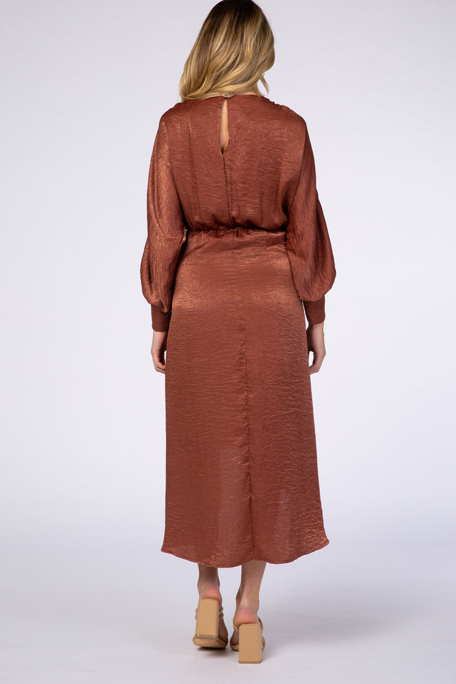 Rust Hi-Low Long Sleeve Maternity Dress
