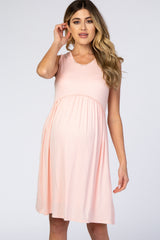 PinkBlush Light Pink Sleeveless Round Neck Pom Pom Detail Maternity Dress