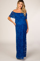PinkBlush Blue Lace Off the Shoulder Maternity Maxi Dress
