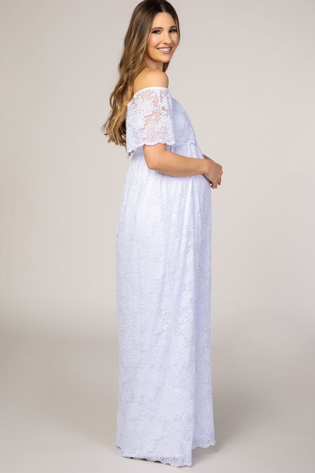 PinkBlush White Lace Off the Shoulder Maternity Maxi Dress