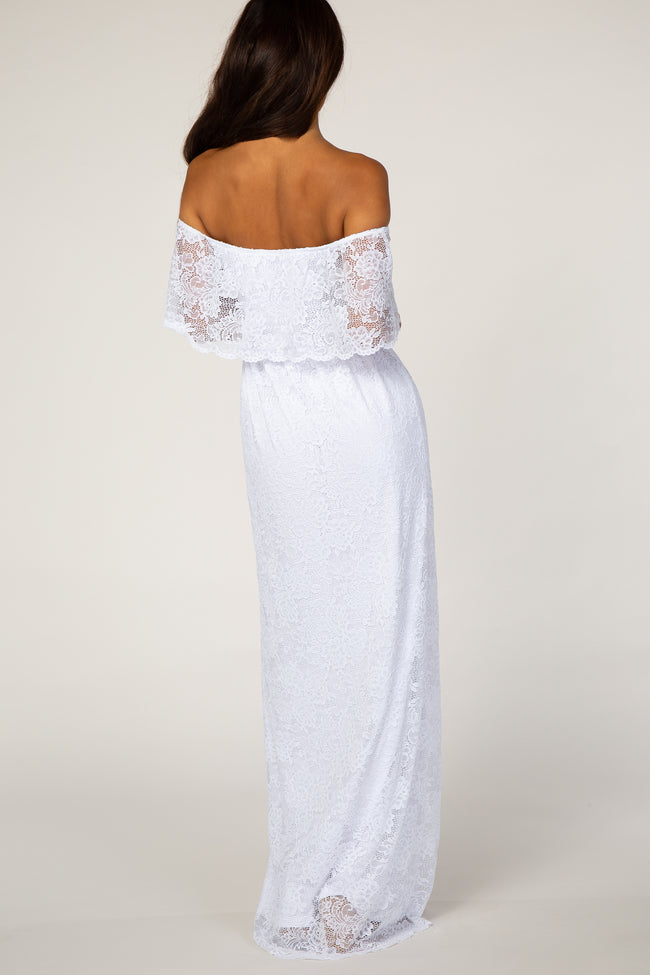 PinkBlush White Lace Off the Shoulder Maxi Dress