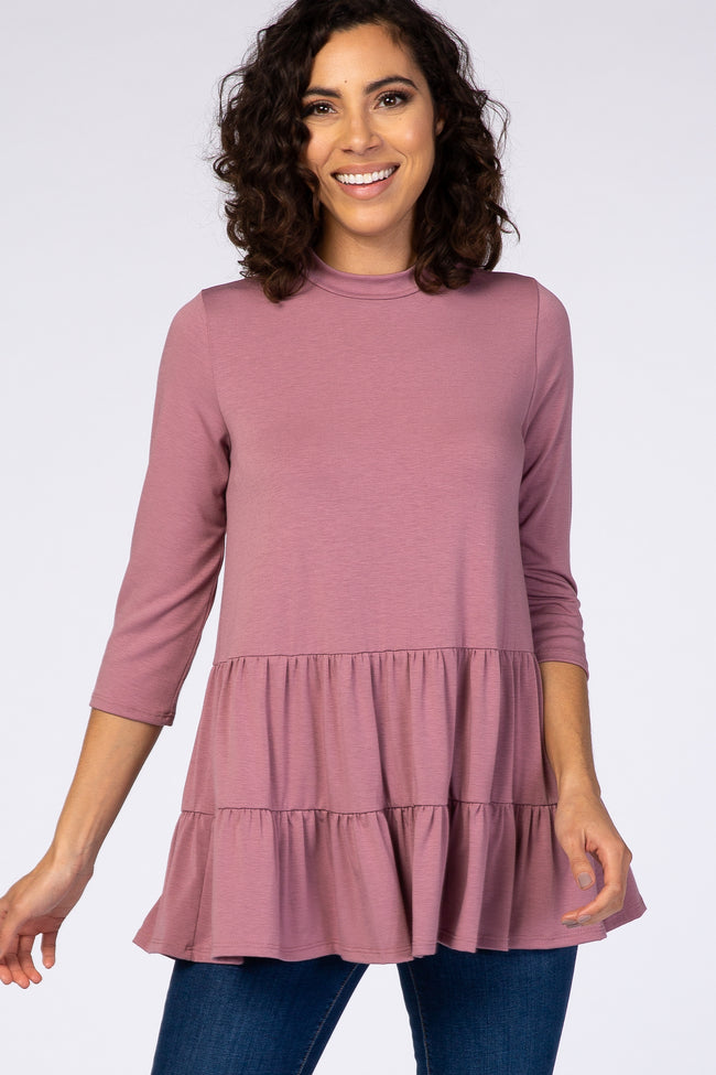 PinkBlush Mauve Tiered Mock Neck Maternity Top