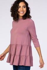 PinkBlush Mauve Tiered Mock Neck Top