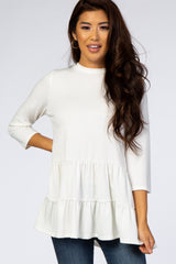 PinkBlush Ivory Tiered Mock Neck Top